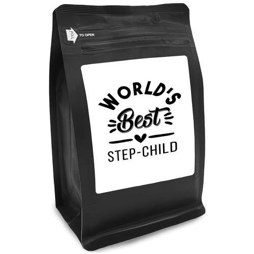 World's Best Step-Child – Coffee Gift – Gifts for Coffee Lovers with Funny, Inspirational Quotes – Best Gifts for Coffee Lovers for Christmas, Birthdays, Anniversaries – Coffee Gift Ideas – 12oz Medium-Dark Roast Coffee Beans
