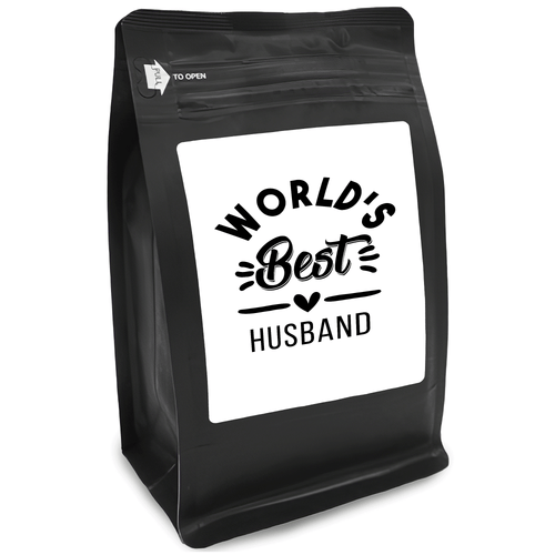 World's Best Husband – Coffee Gift – Gifts for Coffee Lovers with Funny, Inspirational Quotes – Best Gifts for Coffee Lovers for Christmas, Birthdays, Anniversaries – Coffee Gift Ideas – 12oz Medium-Dark Roast Coffee Beans