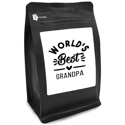World's Best Grandpa – Coffee Gift – Gifts for Coffee Lovers with Funny, Inspirational Quotes – Best Gifts for Coffee Lovers for Christmas, Birthdays, Anniversaries – Coffee Gift Ideas – 12oz Medium-Dark Roast Coffee Beans