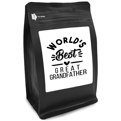 World's Best Great GrandFather – Coffee Gift – Gifts for Coffee Lovers with Funny, Inspirational Quotes – Best Gifts for Coffee Lovers for Christmas, Birthdays, Anniversaries – Coffee Gift Ideas – 12oz Medium-Dark Roast Coffee Beans