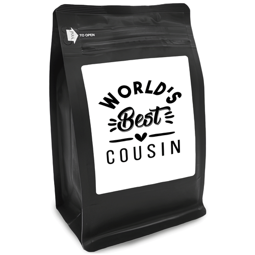World's Best Cousin – Coffee Gift – Gifts for Coffee Lovers with Funny, Inspirational Quotes – Best Gifts for Coffee Lovers for Christmas, Birthdays, Anniversaries – Coffee Gift Ideas – 12oz Medium-Dark Roast Coffee Beans