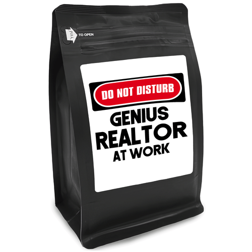 Do Not Disturb Genius Realtor At Work – for Coffee Lovers with Funny, Inspirational Quotes – Best for Christmas, Birthdays, Anniversaries – Coffee Ideas – 12oz Medium-Dark Roast Coffee Beans