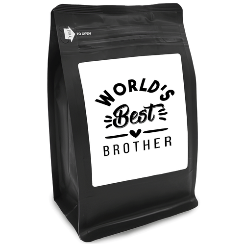 World's Best Brother – Coffee Gift – Gifts for Coffee Lovers with Funny, Inspirational Quotes – Best Gifts for Coffee Lovers for Christmas, Birthdays, Anniversaries – Coffee Gift Ideas – 12oz Medium-Dark Roast Coffee Beans