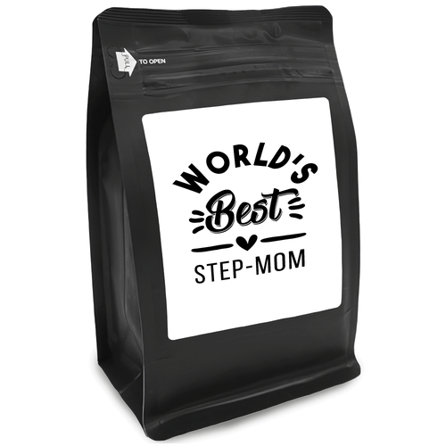 World's Best Step-Mom – Coffee Gift – Gifts for Coffee Lovers with Funny, Inspirational Quotes – Best Gifts for Coffee Lovers for Christmas, Birthdays, Anniversaries – Coffee Gift Ideas – 12oz Medium-Dark Roast Coffee Beans