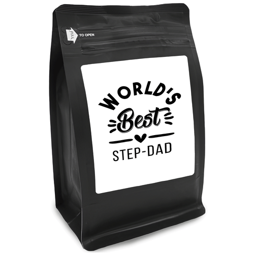 World's Best Step-Dad – Coffee Gift – Gifts for Coffee Lovers with Funny, Inspirational Quotes – Best Gifts for Coffee Lovers for Christmas, Birthdays, Anniversaries – Coffee Gift Ideas – 12oz Medium-Dark Roast Coffee Beans