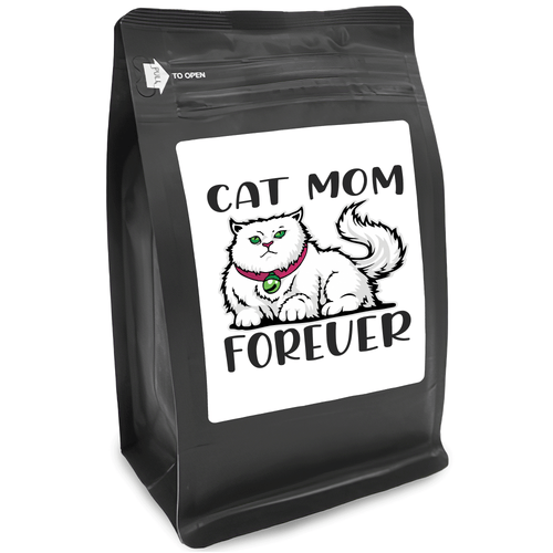 Cat Mom Forever – for Coffee Lovers with Funny, Inspirational Quotes – Best for Christmas, Birthdays, Anniversaries – Coffee Ideas – 12oz Medium-Dark Roast Coffee Beans