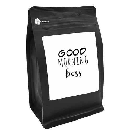 Good Morning Boss – Coffee Gift – Gifts for Coffee Lovers with Funny, Inspirational Quotes – Best Gifts for Coffee Lovers for Christmas, Birthdays, Anniversaries – Coffee Gift Ideas – 12oz Medium-Dark Roast Coffee Beans