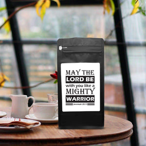 May The Lord Be With You Like A Mighty Warrior - Jeremiah 20:11 – Coffee Lovers Gifts with Funny, Inspirational Quotes – Best Ideas for Christmas, Birthdays, Anniversaries – 12oz Medium-Dark Beans