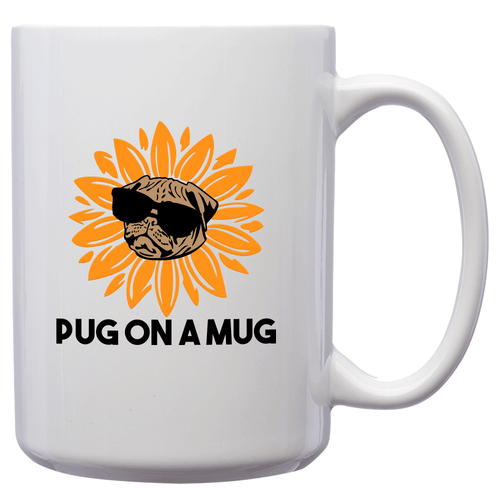 Pug On A Mug – Mug by DieHard Java – Tea Mug 15oz – Ceramic Mug for Coffee, Tea, Hot Chocolate – Big Mug with Funny or Inspirational Captions – Top Quality Large Mug as Birthday, Christmas, Co-worker Gift