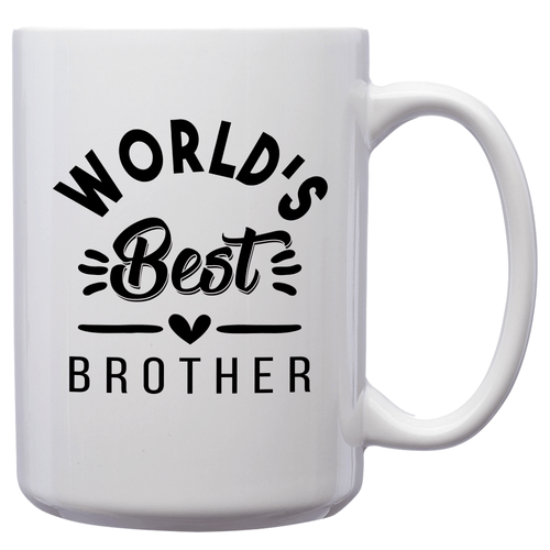 World's Best Brother – Mug by DieHard Java – Tea Mug 15oz – Ceramic Mug for Coffee, Tea, Hot Chocolate – Big Mug with Funny or Inspirational Captions – Top Quality Large Mug as Birthday, Christmas, Co-worker Gift