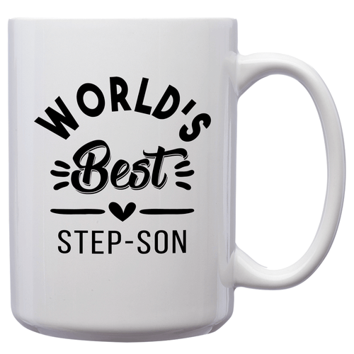 World's Best Step-Son – Mug by DieHard Java – Tea Mug 15oz – Ceramic Mug for Coffee, Tea, Hot Chocolate – Big Mug with Funny or Inspirational Captions – Top Quality Large Mug as Birthday, Christmas, Co-worker Gift