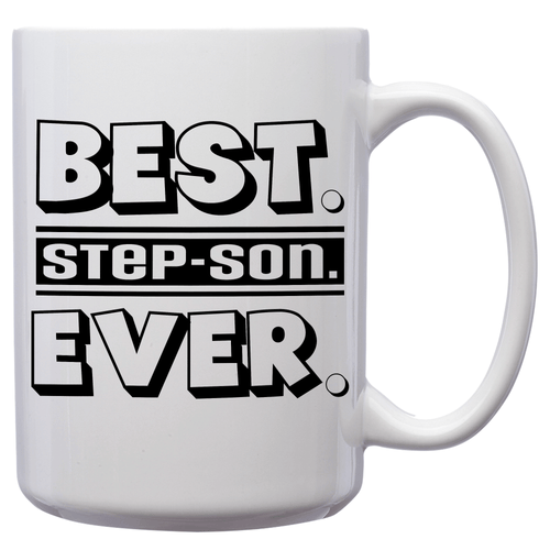 Best Step-Son Ever – Mug by DieHard Java – Tea Mug 15oz – Ceramic Mug for Coffee, Tea, Hot Chocolate – Big Mug with Funny or Inspirational Captions – Top Quality Large Mug as Birthday, Christmas, Co-worker Gift