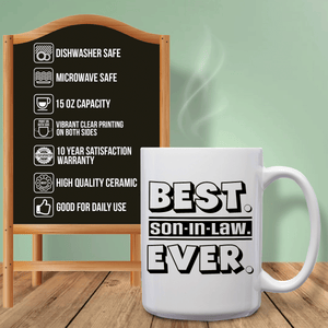 Best Son-In-Law Ever – Mug by DieHard Java – Tea Mug 15oz – Ceramic Mug for Coffee, Tea, Hot Chocolate – Big Mug with Funny or Inspirational Captions – Top Quality Large Mug as Birthday, Christmas, Co-worker Gift