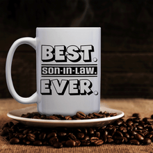 Load image into Gallery viewer, Best Son-In-Law Ever – Mug by DieHard Java – Tea Mug 15oz – Ceramic Mug for Coffee, Tea, Hot Chocolate – Big Mug with Funny or Inspirational Captions – Top Quality Large Mug as Birthday, Christmas, Co-worker Gift