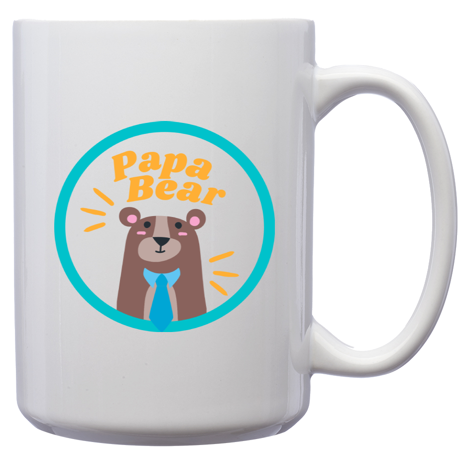 Papa Bear – Mug by DieHard Java – Tea Mug 15oz – Ceramic Mug for Coffee, Tea, Hot Chocolate – Big Mug with Funny or Inspirational Captions – Top Quality Large Mug as Birthday, Christmas, Co-worker Gift
