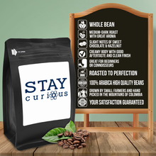 Load image into Gallery viewer, Stay Curious – Coffee Gift – Gifts for Coffee Lovers with Funny, Inspirational Quotes – Best Gifts for Coffee Lovers for Christmas, Birthdays, Anniversaries – Coffee Gift Ideas – 12oz Medium-Dark Roast Coffee Beans