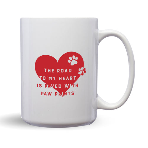 The Road To My Heart Is Paved With Paw Prints – Mug by DieHard Java – Tea Mug 15oz – Ceramic Mug for Coffee, Tea, Hot Chocolate – Big Mug with Funny or Inspirational Captions – Top Quality Large Mug as Birthday, Christmas, Co-worker Gift