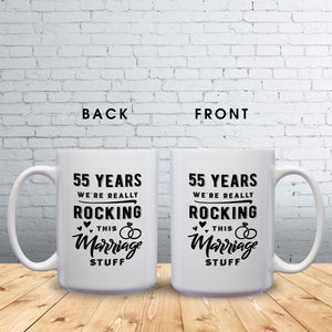 55 Years: We're Really Rocking This Marriage Stuff – Mug by DieHard Java – Tea Mug 15oz – Ceramic Mug for Coffee, Tea, Hot Chocolate – Big Mug with Funny or Inspirational Captions – Top Quality Large Mug as Birthday, Christmas, Co-worker Gift