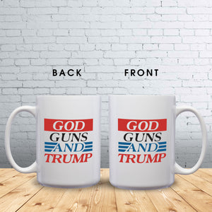 God, Guns, and Trump – Mug by DieHard Java – Tea Mug 15oz – Ceramic Mug for Coffee, Tea, Hot Chocolate – Big Mug with Funny or Inspirational Captions – Top Quality Large Mug as Birthday, Christmas, Co-worker Gift
