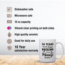 Load image into Gallery viewer, 34 Years: We're Really Rocking This Marriage Stuff – Mug by DieHard Java – Tea Mug 15oz – Ceramic Mug for Coffee, Tea, Hot Chocolate – Big Mug with Funny or Inspirational Captions – Top Quality Large Mug as Birthday, Christmas, Co-worker Gift