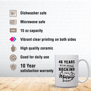 46 Years: We're Really Rocking This Marriage Stuff – Mug by DieHard Java – Tea Mug 15oz – Ceramic Mug for Coffee, Tea, Hot Chocolate – Big Mug with Funny or Inspirational Captions – Top Quality Large Mug as Birthday, Christmas, Co-worker Gift