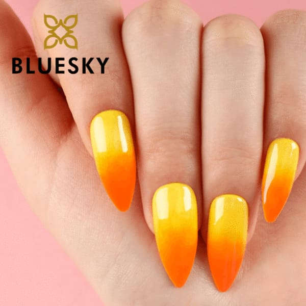 Bluesky ombre nails using yellow and orange gel polish