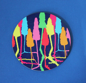Colourful forrest round coasters