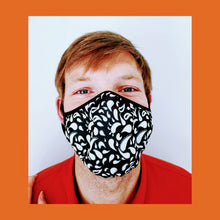 Load image into Gallery viewer, White and Black Paisley face mask PREORDER