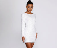 Short Plunging Neck Round Neck Long Sleeves Dress With Pearls