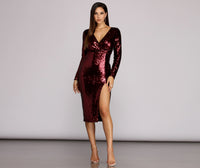 Sophisticated V-neck Slit Sequined Back Zipper 2019 Pencil-Skirt Long Sleeves Midi Dress