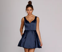 V-neck Satin Above the Knee Pleated Fitted Pocketed Tulle Trim Party Dress