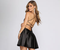 Straight Neck Fitted Pocketed Back Zipper Banding Cocktail Spaghetti Strap Satin Party Dress