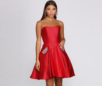 Strapless Sweetheart Princess Seams Waistline Pleated Pocketed Party Dress With Rhinestones