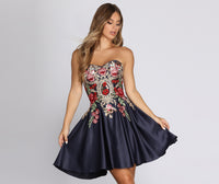 A-line Strapless Short Floral Dots Print Tulle Trim Satin Pleated Back Zipper Pocketed Embroidered Beaded Dress