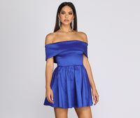 A-line Strapless Back Zipper Pocketed Off the Shoulder Taffeta Short Swing-Skirt Party Dress