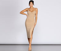 V-neck Slit Mesh Fitted Spaghetti Strap Knit Midi Dress