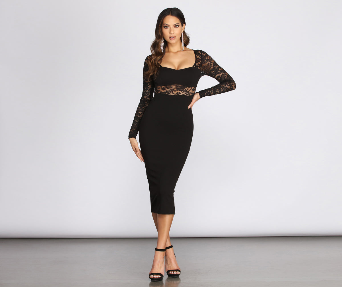 Muriel Illusion Lace Crepe Dress by Windsor