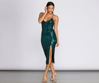 V-neck Lace-Up Slit Mesh Sequined 2019 Geometric Print Plunging Neck Spaghetti Strap Midi Dress