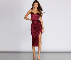 Marcella Formal Satin Midi Dress