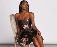 Sexy Floral Print Pocketed Pleated Sleeveless Spaghetti Strap Scoop Neck Short Satin Dress
