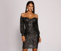 Sweetheart Bishop Sleeves Off the Shoulder Sequined Mesh Short Dress With Rhinestones