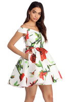 Back Zipper Pocketed Stretchy Belted Pleated Cold Shoulder Sleeves Off the Shoulder Sleeveless Sweetheart Floral Print Princess Seams Tie Waist Waistline Short Taffeta Party Dress With a Bow(s)