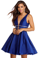 V-neck Princess Seams Waistline Hidden Back Zipper Sleeveless Plunging Neck Party Dress With Rhinestones