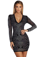 V-neck Mesh Sheer Fitted Geometric Print Short Bodycon Dress