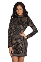 Long Sleeves Mock Neck Geometric Print Fitted Open-Back Beaded Back Zipper Button Closure Crepe Dress