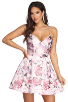 V-neck Pocketed Floral Print Plunging Neck Sleeveless Party Dress