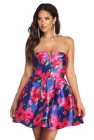 Strapless Floral Print Satin Princess Seams Waistline Pocketed Party Dress