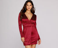 V-neck Vertical Stripe Print Wrap Back Zipper Fitted Asymmetric Above the Knee Long Sleeves Evening Dress