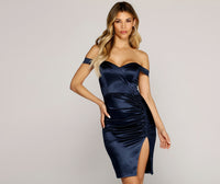 V-neck Pencil-Skirt Short Off the Shoulder Ruched Slit Back Zipper Satin Dress