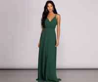 V-neck Chiffon Cutout Flowy Self Tie Spaghetti Strap Floor Length Dress With Ruffles